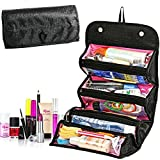 Bolsa de maquillaje de rodillo, bolsa de cosméticos portátil de viaje, organizador de neceser multifunción negro negro