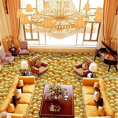ZJfong aangepaste foto vloer geschilderd luxe ontelbare gouden parel HD vloerbedekking badkamer slaapkamer woonkamer vloer schilderij 140x70cm