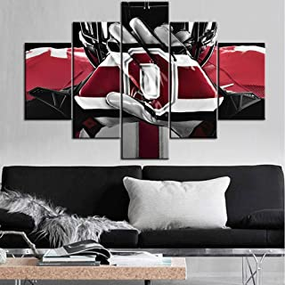 TUMOVO Black and White Wall Art Native American Decor Ohio State Buckeyes Paintings NCAA Pictures 5 Pcs/Multi Panel Canvas Artwork Home Decor Framed Ready to Hang Posters and Prints(60''Wx40''H)