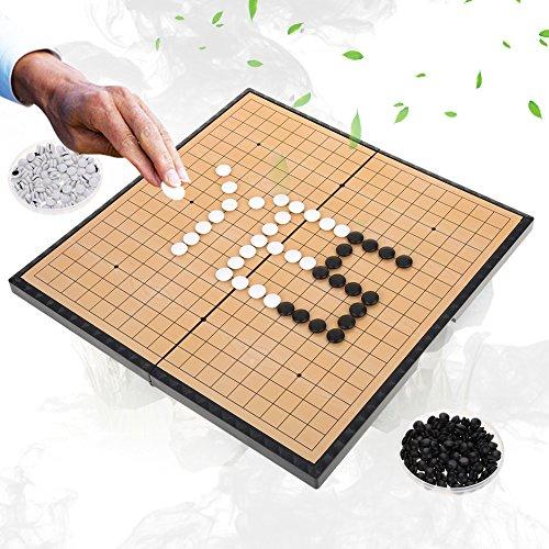 Dioche Go Brettspiel, Tragbares magnetisches Go-Spiel-Kit, 2-Spieler Go Game Set Magnetische Klappbrett Weiqi Lernspiele für Kinder Erwachsene, für Party Familie Aktivitäten