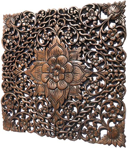 Asiana Home Decor Wall Art- Lotus Flower wtih Twisted Vine Square Carved Wood Plaque 17.5