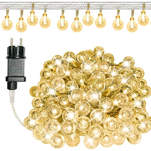 Guirlande Lumineuse Exterieur, 100 LED Guirlande Lumineuse Boules Interieur, IP65 Etanche, 13M 8 Modes, Decorative Chambre Jardin Patio Parti Mariage Sapin