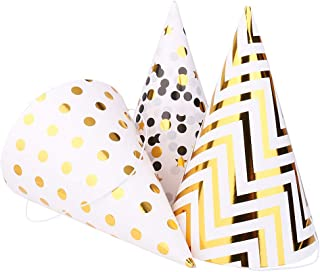 Boieo Gold Birthday Party Hats, 12 pcs Assorted