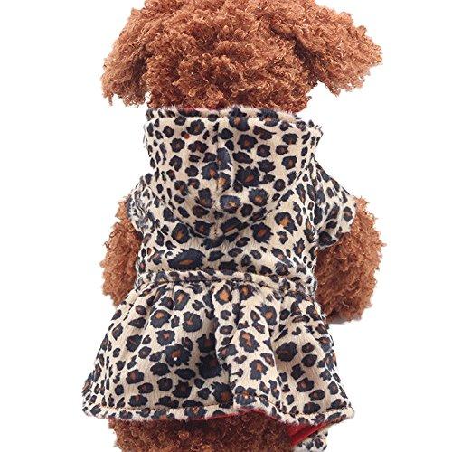 Hawkimin Hunde Leoparden Kleid, Mode Kapuzenpullover Baumwolle Tops Welpen Taste Kleider Unregelmäßiger Saum Mantel