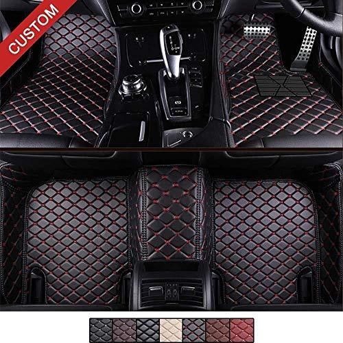 Personalizado Coche Alfombrillas Adecuado para Mercedes-Benz Clase S S500 S550 W221 2006-2013, piel sintética XPE opaca revestimiento impermeable,sedán Benz Clase S 2006-2013,Negro con costuras rojas