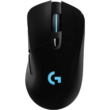 logitech G G703 Lightspeed Wireless Gaming Mouse W/Hero 25K Sensor, PowerPlay Compatible, Lightsync RGB, Lightweight 95G+10G Optional, 100-25, 600 DPI, Rubber Side Grips - Black