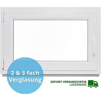 Premium ALLE GR/Ö/ßEN Fenster Kellerfenster Kunststofffenster wei/ß BxH:80x70 cm DIN Links 3 fach Verglasung Dreh-Kipp