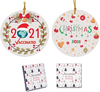 Avamie 2021 Christmas Ornaments 2 Pack, Ceramic Christmas Ornaments Decoration, Two-Side Printed Design, Xmas Tree Hanging...