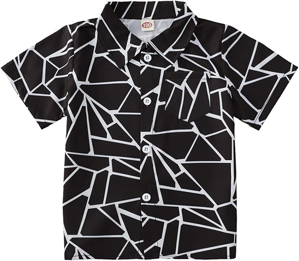 HAPPYMA Boys Button Down Shirts Toddler Little Boy's Hawaiian Short Sleeve Cool Cartoon Print Tops Blouse for Kids 2-6T
