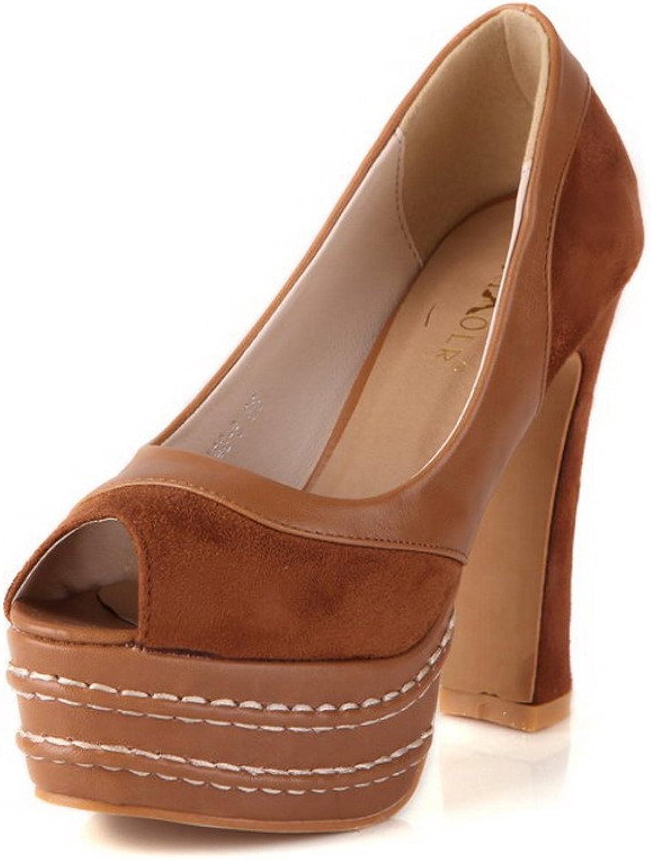 AmoonyFashion Women's Pull On Peep Toe High Heels Solid Sandals