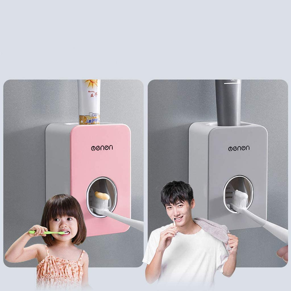 FBGood Toothpaste Dispenser with Automatic Clamping Toothpaste Dispenser Wall Mounted Toothpaste Squeezer for Children for Bathroom Sink Toothpaste Grey