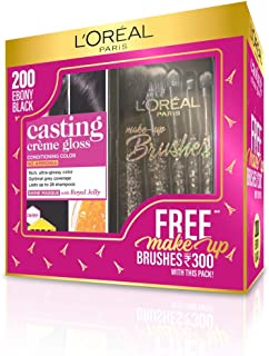 L'Oreal Paris Casting Crème Gloss Hair Color, 200 Ebony Black with Free Makeup Brushes