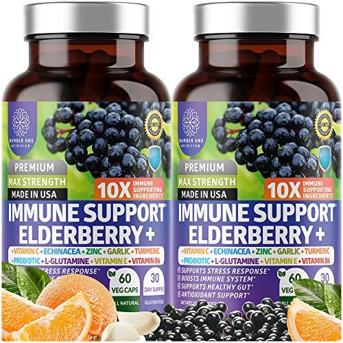N1N Premium 10 in 1 Immune Support Supplement [10 Potent Ingredients] with Elderberry, Vitamin C, Zinc, Echinacea, Turmeric Curcumin, Garlic and Probiotics for Adults, 120 Veg Caps