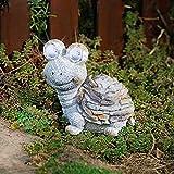 Fikujap Solar leuchtende Harzschildkröte Ornamente,Outdoor Gartenskulptur Moderne Zäune Hof Solarlichtweg Gehweg Statuen Gartendekoration Süße Schildkrötenharzfigur
