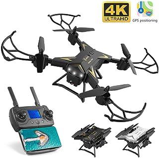 Drone 4K Quadcopter Plegable HD GPS Drones 5G WiFi FPV Drone con Cámara 20 Mins Tiempo De Vuelo Largo 1800mAh Batería Posicionamiento Inteligente Retorno Control Remoto Avión para Principiante
