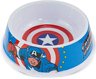 Dog Food Bowl Captain America Shield Action Pose Blue Red White 16 Ounces