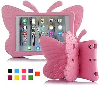 ipad case for kids, Feitenn 3D Cartoon Butterfly Non-toxic EVA Light weight Kid Proof Shockproof case with Kickstand for ipad 5/ ipad 6 /ipad pro 9.7 case (Pink)