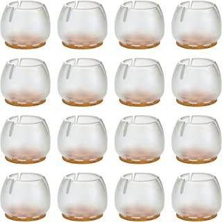16Pack Anwenk Chair Leg Floor Protectors for 1-1/2 inches to 1-5/8 inches Chair Legs,Round Silicone Chair Leg Caps Chair Leg Tip,Transparent Clear