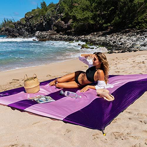 OCOOPA Stranddecke sandfrei super groß 280x300 cm, sanddicht wasserdicht, weiches bequemes langlebiges Material, breite Streifen, leicht kompakt für Picknick, Urlaub (Rosa/ lila, 280 x 300 cm)