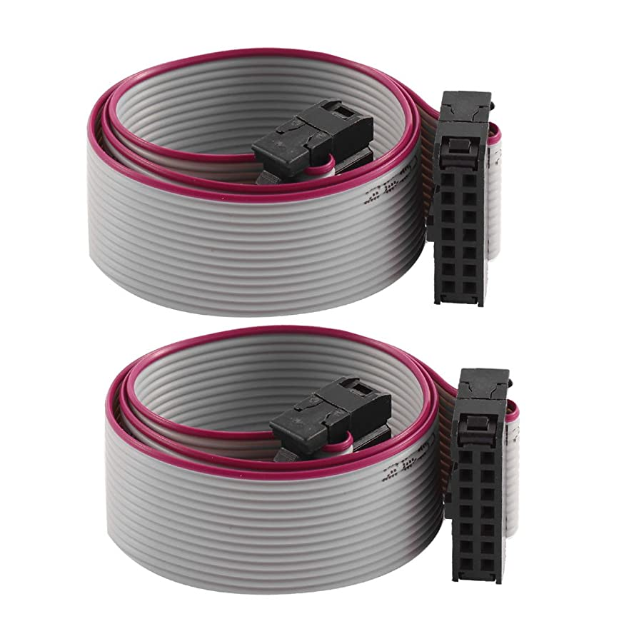 Aexit Hard Drive Bulk Cables 30cm Feamle IDC 14 Pin Extension Flat Ribbon Cable Flat Ribbon Cables 2 Pcs
