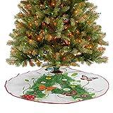 Homesonne Falda grande para árbol de Navidad, primera letra del alfabeto, construcción natural, hoja...