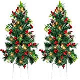 Best Choice Products Set of 2 24.5in Outdoor Battery Operated Pre-Lit Pathway Christmas Trees Holiday Dcor for Driveway, Yard, Garden w/LED Lights, Red Berries, Frosted Pine Cones, Red Ornaments