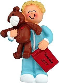 Calliope Designs Boy with Teddy Personalized Christmas Ornament - Blonde Hair - Handpainted Resin - 3.25