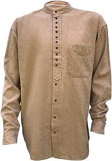 Irish Grandfather Collarless Shirt Tan Clay