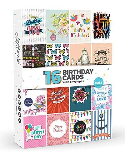 16 x Geburtstagskarten von Joy Masters™ 1. Auflage | Set für Männer & Frauen
