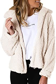 Womens Sherpa Full Zip Faux Fur Jackets Long Sleeve Fleece Fuzzy Lapel Flutty Shearling Winter Warm Outwear