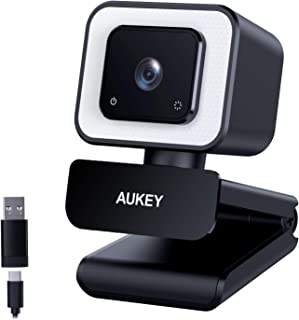 AUKEY FHD Webcam, 1080p 60fps Live Streaming Camera with Dual Stereo Microphones and LED Light, Desktop or Laptop USB Webc...