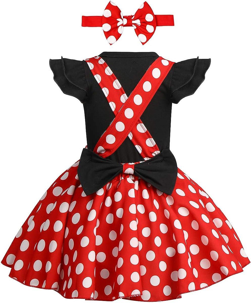 Ensemble de 3 pi/èces pour nouveau-n/é fille 1er anniversaire Minnie Barboteuse avec bandeau /à pois Body /à volants Tutu Tutu Jupe N/œud D/éguisement de f/ête 0 24 mois