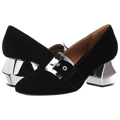 Emporio Armani 55m Buckle Velvet Heel (Black) High Heels