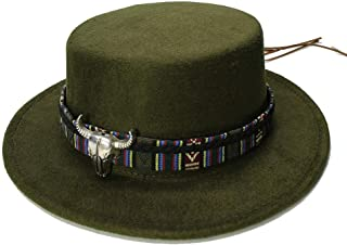 Elegant Hats Women Men Vintage Wool Wide Brim Cap Pork Pie Porkpie Bowler Hat Cow Head Leather Band by Original Design Natural Caps (Color : Green, Size : 57-58CM)