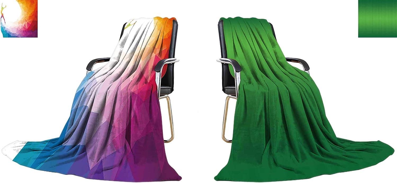 YOYIhome Warm Microfiber All Season Blanket Creative Silhouette of Gymnastic Girl Art Gymnastics, colorful Vector Illustration with Print Image Thicken Blanket 90 x70  (Double Side)