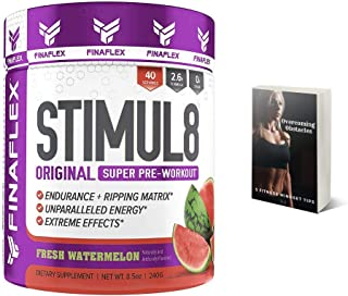Finaflex Stimul8 Pre-Workout Powder, Watermelon, 8.5 Oz Extreme Energy, Optimum Pre Workout for Men & Women, Nutrition Supplement Drink, Best Pre Workout Supplements for Ripped Muscle, Plus E-Book