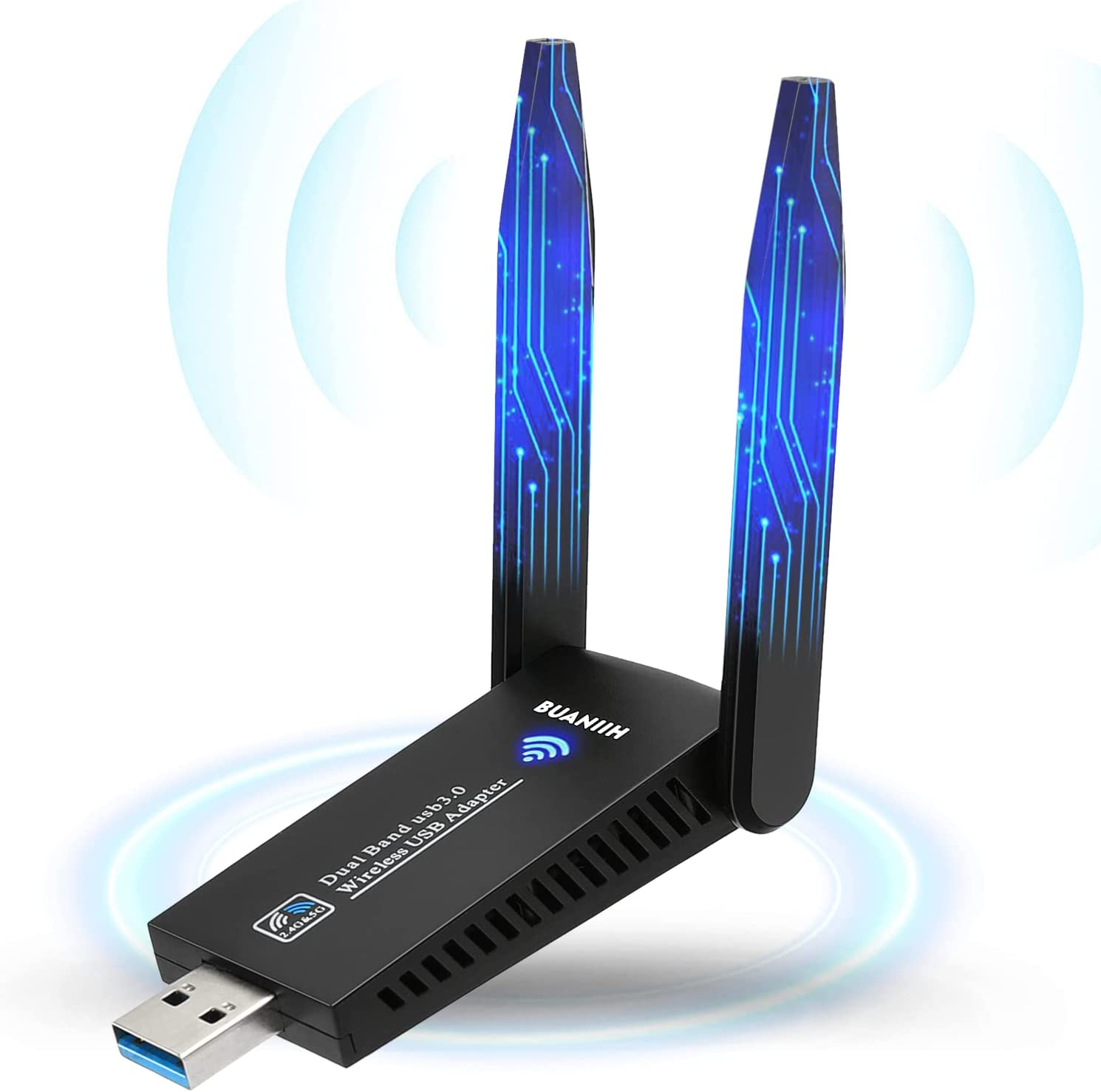 Wireless USB WiFi Adapter for PC,1300Mbps Dual 5Dbi Antennas,Support2.42GHz/400Mbps & 5.8GHz/867Mbps Network,802.11AC Compliant,USB 3.0,Support Win10/8/7/XP, Mac OS/10.9-10.15