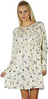 فستان صيفي نسائي من Bimba بأكمام كاملة كاجوال من الحرير الصناعي