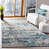 Safavieh Madison Collection MAD460K Modern Contemporary Abstract Area Rug, 4' x 6', Grey/Blue