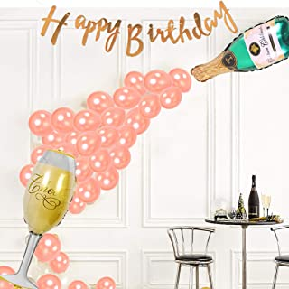 Rose Gold Birthday Party Decoration for Girl with Happy Birthday Letter Banner Champagne Goblet Shape Balloons and Rose Gold Balloons