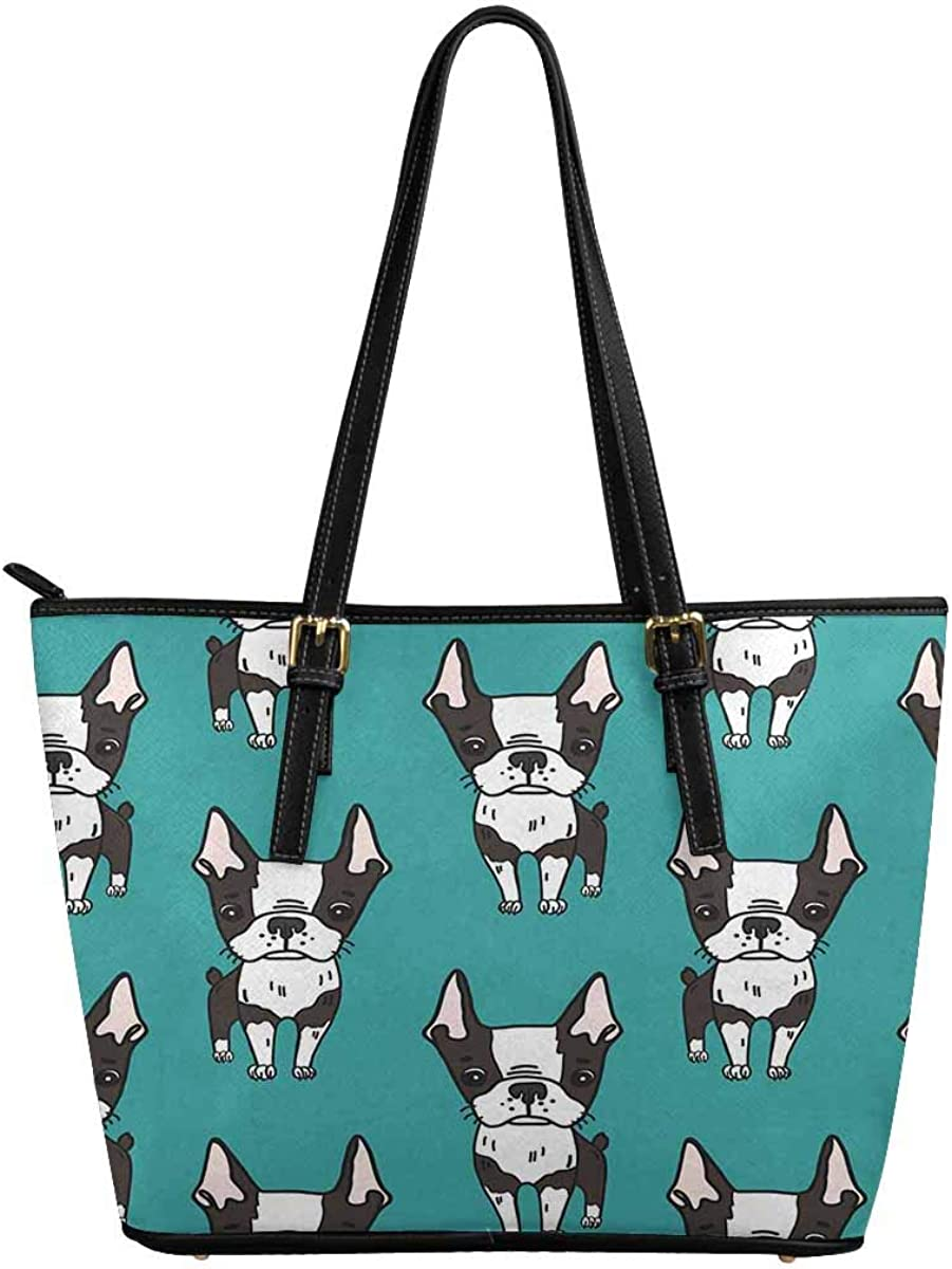 InterestPrint Fashion Women's PU Leather HandBags Ladies Shoulder Bags Tote Bags Car to on Black and White Puppies