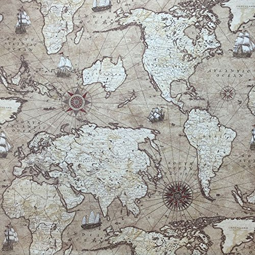 Baumwollstoff Panama Designer, Leinenoptik, Motiv: Alte Weltkarte - für Gardinen, Jalousien und weiche Polstermöbel, Breite 137,2cm–Meterware