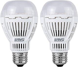 SANSI Pack de 2 bombillas LED E27 de 8 W con sensor de luz diurna, encendido/apagado automático, 5000 K, blanco frío, 800 lúmenes, equivalente a bombilla de 80 W para porche, garaje, sótano