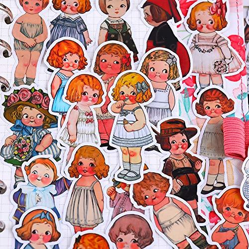 AXHZL Dos muñecas mezcladas de sopa de tomate mano cuenta etiqueta linda chica de dibujos animados corazón retro mano cuenta material decoración del teléfono Gadget 50 piezas