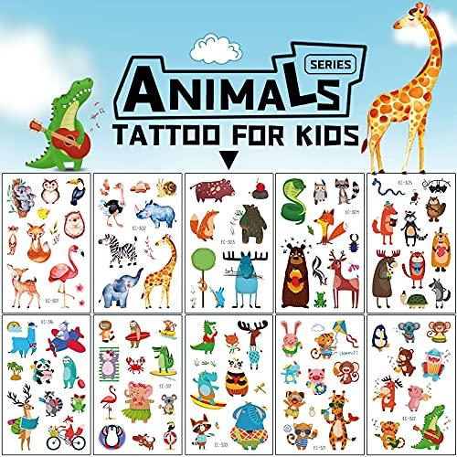 PMSMT Animales de Dibujos Animados Impermeable dwaterproof Tatuaje Temporal de Agua niños Lindo Dinosaurio Mono Conejo Tatuaje Pegatinas niños niño niña Falso Flash Tatoo