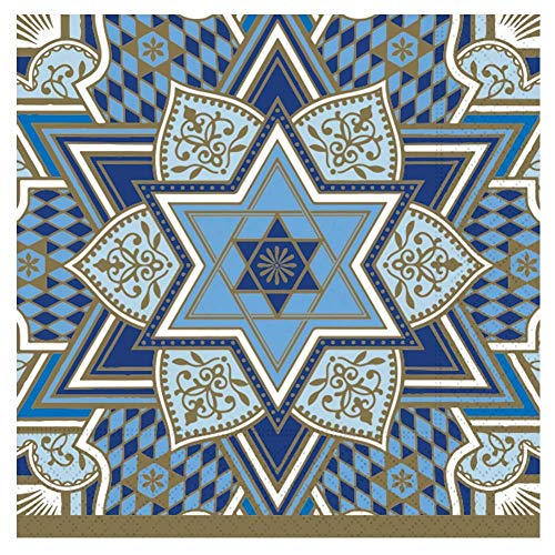 Decorative Paper Napkins Hanukkah Napkins Disposable Hanukkah Party Napkins Stars Blue Napkins Dessert, Lunch 6.5' x 6.5' Pak 40