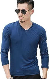 Men's Basic Longsleeve Solid Color Slim Fit V Neck T-Shirt Clothing T-Shirt Tops in