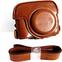zdMoon Brown Leather Camera case bag Strap for Canon POWERSHOT G15 G16 (USB Open Type)