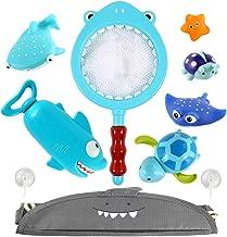 Domoey Bath Toys with Ocean Animals, Bathtub Toys, Bath Toys Organizer ,Wind Up Bath Toys, Floating Toys, Water Blaster Toys and Fishing Net, 4 in 1 Design, Birthday Gift.