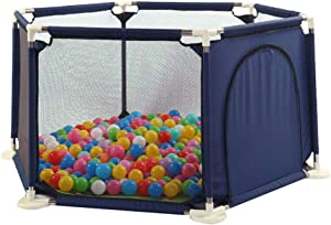 Large Baby Playpen Indoor Safety Gates with Crawling Mat Ball Suction Cup Widened Base Design Portable Travel Playard Ball Pool Play House for Children Infant Kid Toddler
